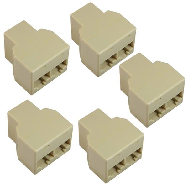 INSTEN RJ45 1 x 2 Ethernet Splitter Connector (Pack of 5)