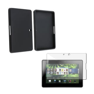 BasAcc Black Silicone Case/ Screen Protector for Blackberry Playbook