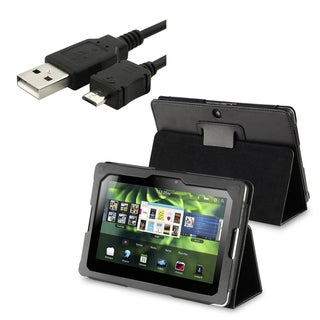 BasAcc Leather Case/ USB Data Charging Cable for Blackberry Playbook