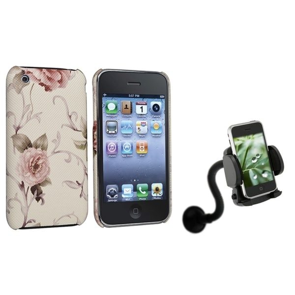 BasAcc White/ Pink Case/ Windshield Mount for Apple® iPhone 3G/ 3GS