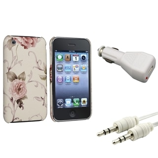 BasAcc White/ Pink Case/ Car Charger/ Cable for Apple� iPhone 3G/ 3GS