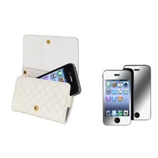 BasAcc White Wallet Case/ Mirror Screen Protector for Apple� iPhone 4S