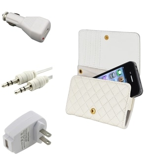 BasAcc White Wallet Case/ Chargers/ Cable for Apple� iPhone 4/ 4S