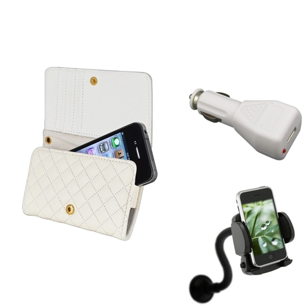 INSTEN White Wallet Case Cover/ Car Charger/ Mount 3-piece Set for Apple iPhone 4/ 4S