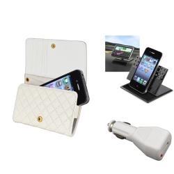 INSTEN White Wallet Phone Case Cover/ Car Charger/ Holder for Apple iPhone 4/ 4S