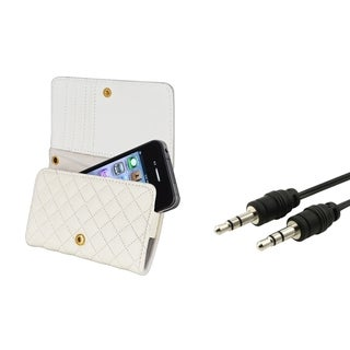 BasAcc White Leather Wallet Case/ Audio Cable for Apple� iPhone 4/ 4S