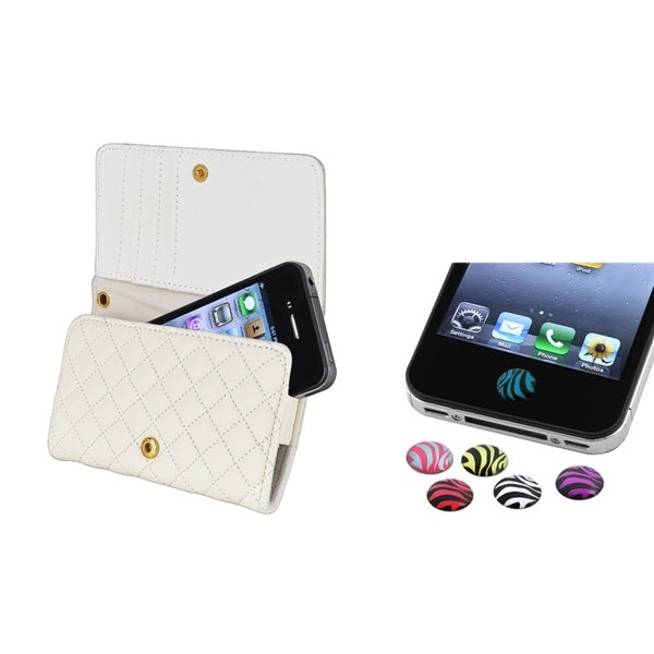 INSTEN Wallet Phone Case Cover/ Zebra Home Button Sticker for Apple iPhone 4S