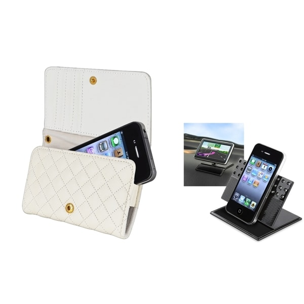 INSTEN Wallet Phone Case Cover/ Swivel Phone Holder for Apple iPhone 4/ 4S