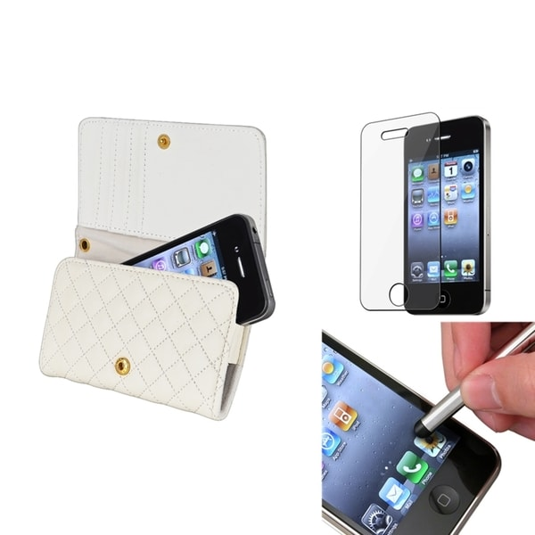 INSTEN White Wallet Phone Case Cover/ Screen Protector/ Stylus for Apple iPhone 4/ 4S