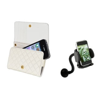 BasAcc Leather Wallet Case/ Windshield Mount for Apple� iPhone 4/ 4S