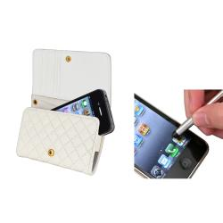 INSTEN Leather Wallet Phone Case Cover/ Silver Stylus for Apple iPhone 4/ 4S