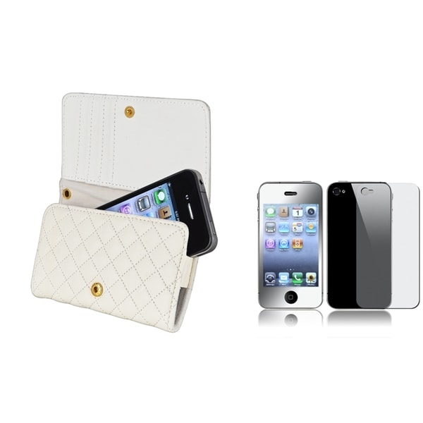 INSTEN Leather Wallet Phone Case Cover/ Screen Protectors for Apple iPhone 4/ 4S