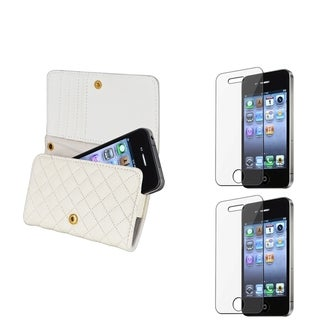 INSTEN Leather Wallet Phone Case Cover/ Screen Protector for Apple iPhone 4S
