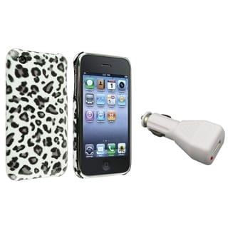 BasAcc Grey Leopard Case/ White Car Charger for Apple� iPhone 3G/ 3GS
