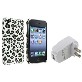 BasAcc Grey Leopard Case/ Travel Charger for Apple� iPhone 3G/ 3GS