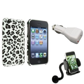 BasAcc Grey Leopard Case/ Car Charger/ Mount for Apple� iPhone 3G/ 3GS
