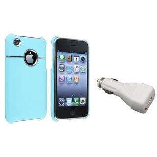 BasAcc Baby Blue Case/ White Car Charger for Apple� iPhone 3G/ 3GS
