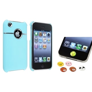 BasAcc Baby Blue Case/ Home Button Sticker for Apple� iPhone 3G/ 3GS