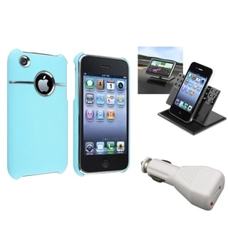 BasAcc Baby Blue Case/Car Charger/Holder Bundle for Apple iPhone 3G/3GS