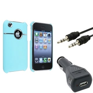 BasAcc Baby Blue Case/ Car Charger/ Cable for Apple� iPhone 3G/ 3GS