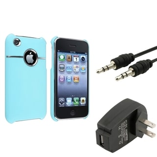 BasAcc Baby Blue Case/ Black Charger/ Cable for Apple� iPhone 3G/ 3GS