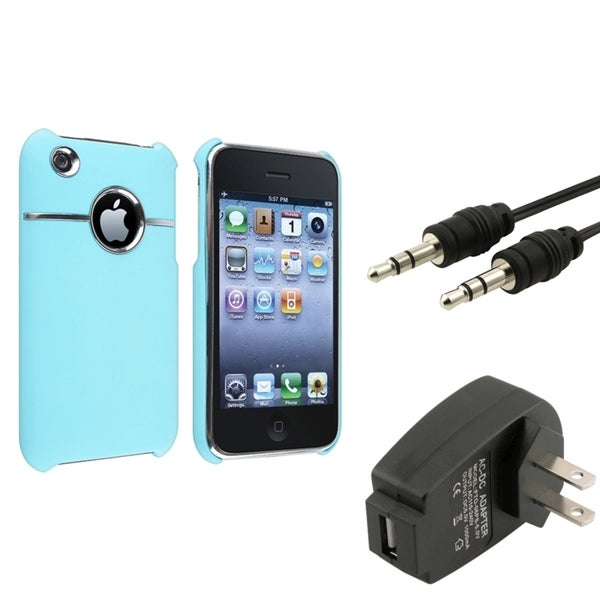 BasAcc Baby Blue Case/ Black Charger/ Cable for Apple® iPhone 3G/ 3GS