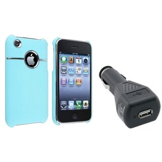 BasAcc Baby Blue Case/ Black Car Charger for Apple� iPhone 3G/ 3GS