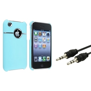 BasAcc Baby Blue Case/ Black Audio Cable for Apple� iPhone 3G/ 3GS