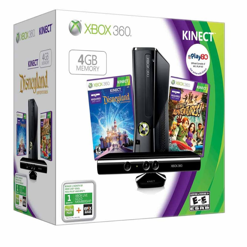 XBOX 360 - Kinect Holiday Bundle w/Disneyland Adventures & Kinect Adventures 4 GB