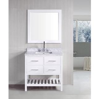 London Pearl White Solid wood 36-inch Transitional Bathroom Vanity Set