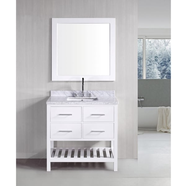 London Pearl White Solid wood 36inch Transitional Bathroom Vanity Set