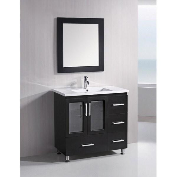Design element solid wood stanton 36 inch modern bathroom vanity set
