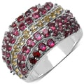 Malaika Sterling Silver 2 7/8ct TGW Garnet, Citrine and Rhodolite Ring