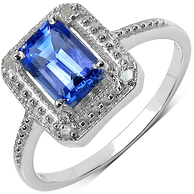 Malaika Sterling Silver Square Prong-set Tanzanite Ring
