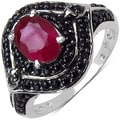 Malaika Sterling Silver 2 1/5ct TGW Ruby and Black Spinel Ring