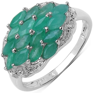 Malaika Sterling Silver 1 3/5ct TGW Emerald and White Topaz Ring