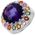 Malaika Sterling Silver 10 5/8ct TGW Amethyst and Multi-colored Sapphire Ring
