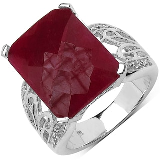 Malaika Sterling Silver 12 3/4ct TGW Ruby and White Topaz Ring
