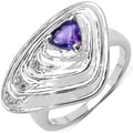 Malaika Sterling Silver 1/2ct TGW Amethyst and White Topaz Enamel Ring