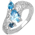 Malaika Sterling Silver Blue Pear Topaz Ring