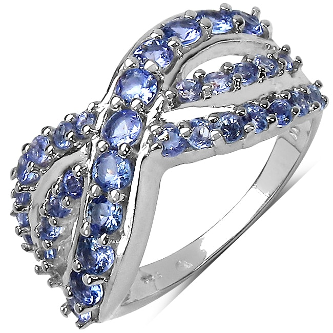 Malaika Sterling Silver Round-cut Prong-set Tanzanite Ring