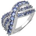 Malaika Sterling Silver Round-cut Prong-set Tanzanite Ring