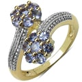 Malaika Yellow Gold overlay Sterling Silver Round-cut Tanzanite Ring