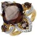 Malaika Yellow Gold overlay Sterling Silver Smokey Topaz Ring