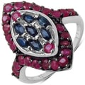 Malaika Sterling Silver Blue Sapphire and Ruby Ring