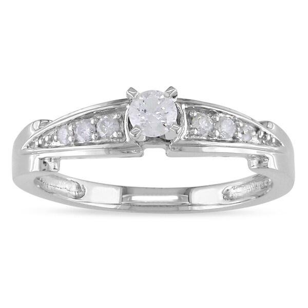Miadora 14k White Gold 1/4ct TDW Diamond Promise Ring (G-H, I1-I2)