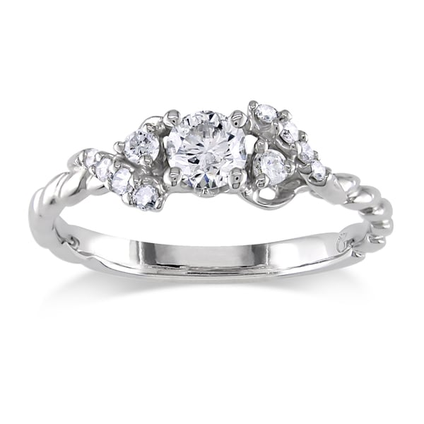 Miadora 18k White Gold 1/3ct TDW Diamond Engagement Ring (G-H, I1-I2)