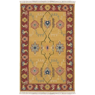 Hand-woven Bearcanyon Gold New Zealand Wool Rug (7' x 9')