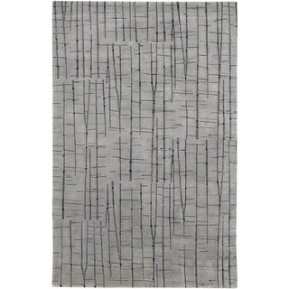 Julie Cohn Hand-knotted Carnero Grey Abstract Design Wool Rug (8' x 11')