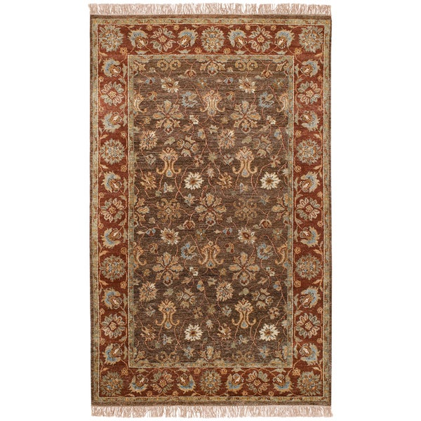 Hand-knotted Redland Brown Hand-spun New Zealand Wool Rug (5' x 8')